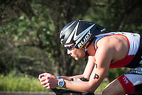 Ben Hoffman competes during the bike portion of the Accenture Ironman California 70.3 in Oceanside, CA on March 29, 2014.