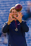 12 October 2014: New England Patriots quarterback Tom Brady warms up prior to facing the Buffalo Bills at Ralph Wilson Stadium in Orchard Park, NY. The Patriots defeated the Bills 37-22 to move into first place in the AFC Eastern Division. Mandatory Credit: Ed Wolfstein Photo *** RAW (NEF) Image File Available ***