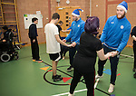 St Johnstone players took some festive cheer to Fairview School in Perth gving out selection boxes and gifts to the pupils&hellip; Zander Clark dancing with Holly a secondary school pupil<br />Picture by Graeme Hart.<br />Copyright Perthshire Picture Agency<br />Tel: 01738 623350  Mobile: 07990 594431