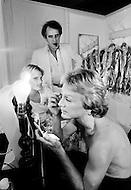 Juan Les Pins, France. July 26th, 1977. Claude Francois Prepares in his dressing-room with his American girlfriend, Kathalyn Jones.