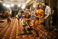 Atlantic City, NJ, April 24, 1981. Lisa Elliot. backstage at the Women's World Bodybuilding Championships.