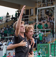 Alex Shinsky celebrates his goal with Andrew Craven. US Men's National Team Under 17 defeated Malawi 1-0 in the second game of the FIFA 2009 Under-17 World Cup at Sani Abacha Stadium in Kano, Nigeria on October 29, 2009.