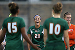 12 September 2013: Miami's Maddie Simms (21). The Duke University Blue Devils hosted the University of Miami Hurricanes at Koskinen Stadium in Durham, NC in a 2013 NCAA Division I Women's Soccer match. Duke won the game 3-0.