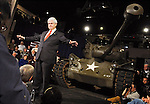 Wolfeboro, New Hampshire: January 7, 2012<br /> <br /> Presidential candidate Newt Gingrich leads a town hall while standing beside a Pershing tank used during World War II. He said, &quot;I look at this tank lovingly, because I remember Michael Dukakis (former governor of Massachusetts and ex presidential candidate who posed on a tank and looked foolish). And it's just a reminder that governors of Massachusetts don't always make good presidential candidates.&quot; The remark was a jab at one of his Republican competitors, Mitt Romney. This event happened at the Wright Museum three days before New Hampshire presidential primary election. &copy;Chris Fitzgerald / CandidatePhotos