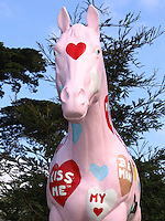 Drenched in pink and adorned with Valentine images, Old Paint greets another holiday at Lemo's Farm in Half Moon Bay, California.