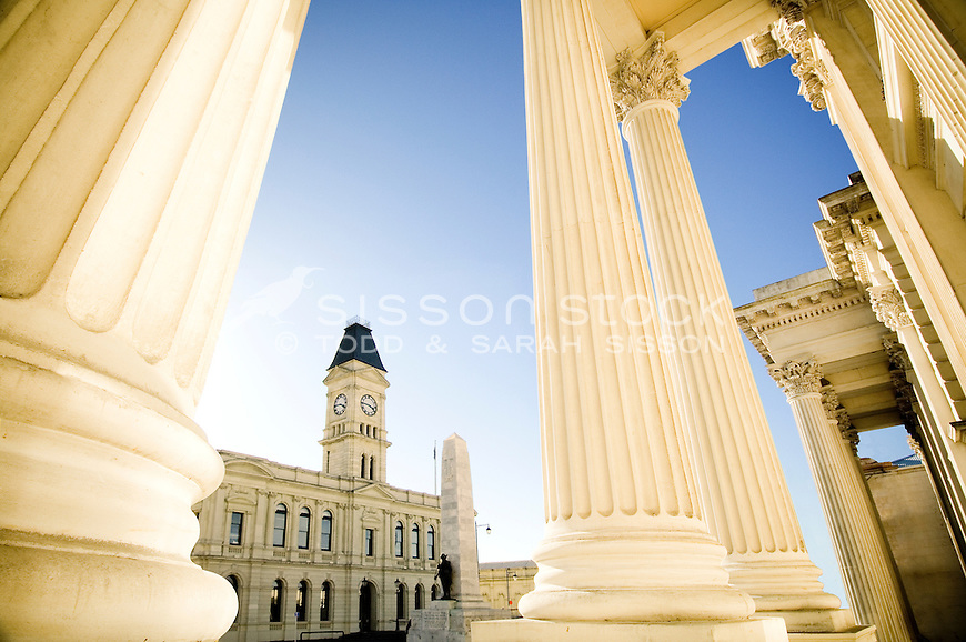 historic white stone buildings columns oamaru new