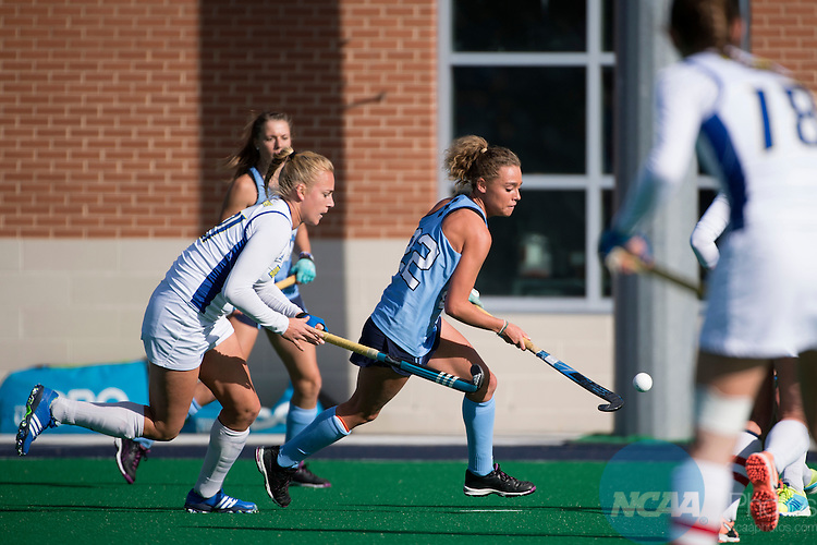 NORFOLK, VA - NOVEMBER 20:  Eva van't Hoog (22) of the University of North Carolina pushes the ball upfield against the University of Delaware during the Division I Women's Field Hockey Championship held at the LR Hill Sports Complex on November 20, 2016 in Norfolk, Virginia.  Delaware defeated North Carolina 3-2 for the national title. (Photo by Jamie Schwaberow/NCAA Photos via Getty Images)