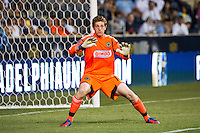 Philadelphia Union goalkeeper Zac MacMath (18). Sporting Kansas City defeated the Philadelphia Union 2-0 during the semifinals of the 2012 Lamar Hunt US Open Cup at PPL Park in Chester, PA, on July 11, 2012.