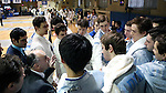 11 February 2017: Duke head coach Alex Beguinet (FRA) (below, left) talks to his team before the match. The Duke University Blue Devils hosted the Massachusetts Institute of Technology Engineers at Card Gym in Durham, North Carolina in a 2017 College Men's Fencing match. Duke won the dual match 19-8 overall, 7-2 Foil, 6-3 Epee, and 6-3 Saber.