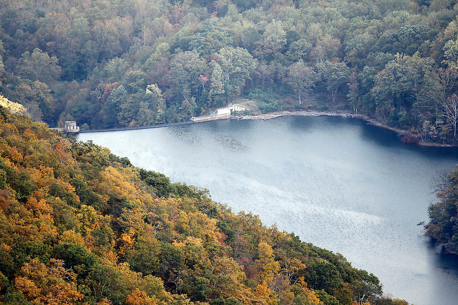 The Sugar Hallow reservoir and dam, a water supply for Albemarle County and Charlottesville, as seen from the Shenandoah National Forest.   Photo/Andrew Shurtleff