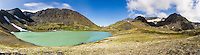Composite panorama of Crystal Lake at Crow Pass in Chugach National Forest in Southcentral Alaska. Summer. Afternoon.