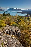 Overview of Naknek lake and the Kejulik mountains from Dumpling mountain, Katmai National Park, Alaska.