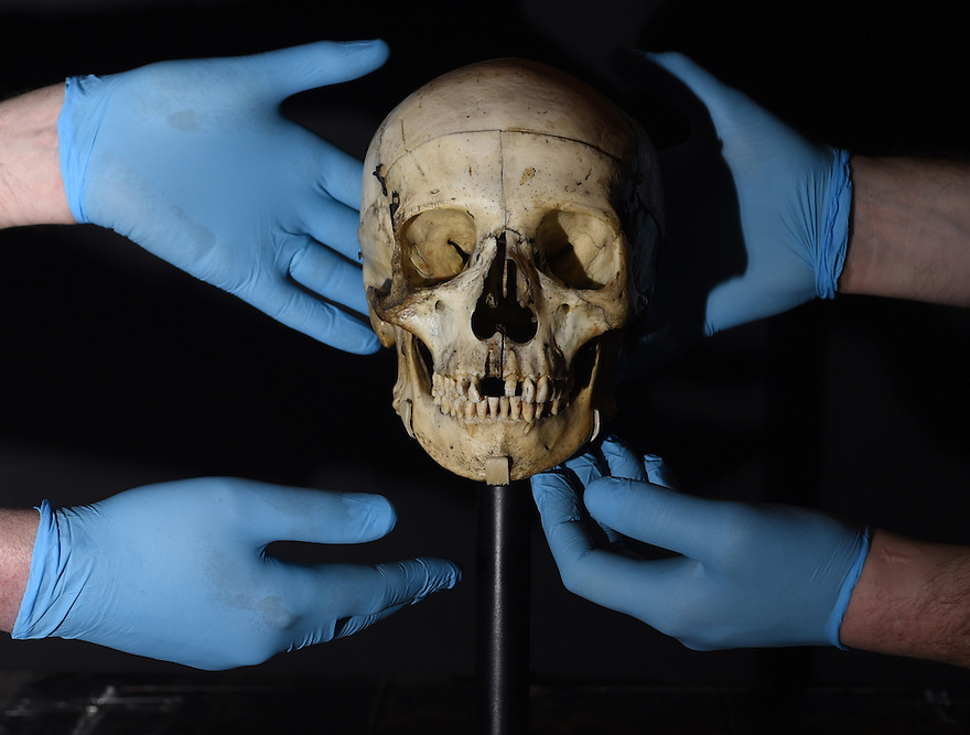 A HUMAN SKULL PRESENTED TO SARAH BERNHARDT BY VICTOR HUGO FOR HER PERFORMANCE AS HAMLET  ON LOAN FROM THE VICTORIA AND ALBERT MUSEUM IS INSTALLED FOR  THE BRITISH LIBRARY'S UPCOMING EXHIBITION SHAKESPEARE IN TEN ACTS. PHOTO BY CLARE KENDALL. 04/04/2016.