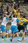 GER - Mannheim, Germany, September 23: During the DKB Handball Bundesliga match between Rhein-Neckar Loewen (yellow) and TVB 1898 Stuttgart (white) on September 23, 2015 at SAP Arena in Mannheim, Germany. Final score 31-20 (19-8) .  Mads Mensah Larsen #22 of Rhein-Neckar Loewen, Tobias Schimmelbauer #2 of TVB 1898 Stuttgart, Teo Coric #13 of TVB 1898 Stuttgart<br /> <br /> Foto &copy; PIX-Sportfotos *** Foto ist honorarpflichtig! *** Auf Anfrage in hoeherer Qualitaet/Aufloesung. Belegexemplar erbeten. Veroeffentlichung ausschliesslich fuer journalistisch-publizistische Zwecke. For editorial use only.