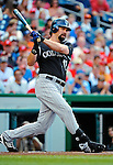 9 July 2011: Colorado Rockies first baseman Todd Helton in action against the Washington Nationals at Nationals Park in Washington, District of Columbia. The Rockies edged out the Nationals 2-1 to win the second game of their 3-game series. Mandatory Credit: Ed Wolfstein Photo
