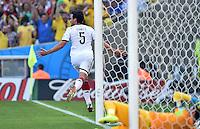 FUSSBALL WM 2014                VIERTELFINALE Frankreich - Deutschland           04.07.2014 Mats Hummels (Deutschland) bejubelt sein Tor zum 0:1