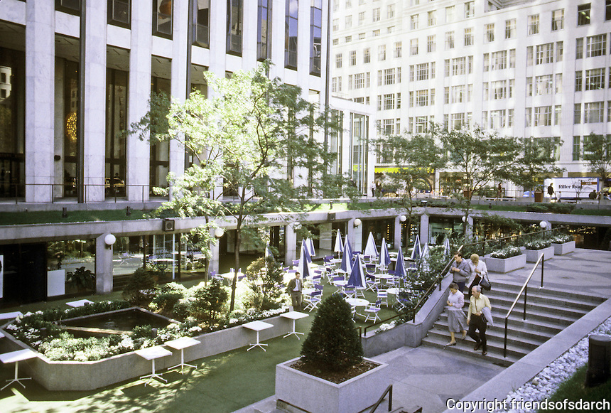 New York City: General Motors Building--Sunken Plaza 1968. Edward Durell Stone, Emory Roth & Sons.