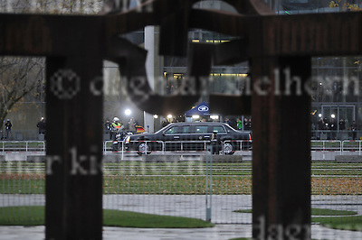 Nov.17-16 Chancellery,Berlin,Germany<br /> The United States presidential state car (nicknamed &quot;The Beast&quot;, &quot;Cadillac One&quot;, &quot;First Car&quot;; code named &quot;Stagecoach&quot;) is the official state car of<br /> outgoing US president, Barack Obama on his way to be<br /> welcomed by close friend and partner, Chancellor Angela Merkel