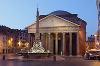 Piazza della Rotonda at dawn showing the Rameses II Obelisk and the Pantheon, ancient temple in Rome dating from 125 AD by Emperor Hadrian (reconstruction), later converted into the church of Santa Maria ad Martyres, Rome, Italy. Picture by Manuel Cohen