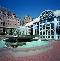 Victoria Conference Centre, Victoria, BC, Vancouver Island, British Columbia, Canada - Fountain on Plaza behind Fairmont Empress Hotel