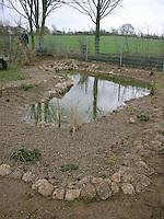 Grundschulklasse, Schulklasse legt einen Schulteich, Schul-Teich, Teich, Gartenteich, Garten-Teich im Schulgarten an, Ansicht des neu angelegten Teiches, die ersten kleinen Wasserpflanzen am Uferrand des, als Substrat dient feinkörniger Kies
