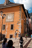Briancon, Hautes Alpes, France, July 2013. The walled city of Briancon is full of narrow streets filled with medieval houses and many shops, restaurants and bars. The Hautes Alpes region is made of valleys, lakes, canyons and mountains going from the northern Alps to the Provence and ranges from 500m to 4302m  in altitude. Endowed with an exceptional beauty the Hautes Alpes has managed to keep clear of industry and large crowds. The atmosphere has stayed casual and convivial. There is an alpine feeling in this area due to its steep slopes and the abundance of mountain villages. Photo by Frits Meyst/Adventure4ever.com