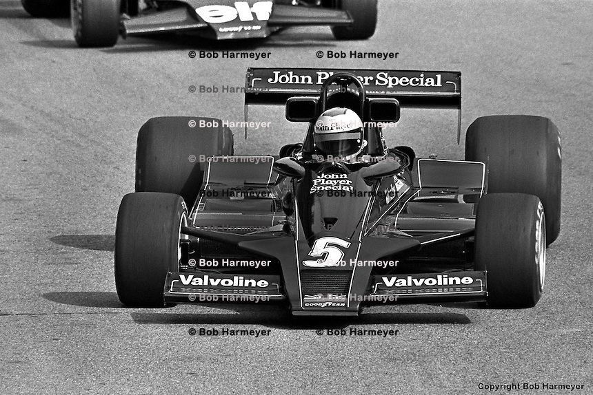 LONG BEACH, CA - APRIL 2: Mario Andretti drives his Lotus 78 R3/Ford Cosworth DFV during the United States Grand Prix West on April 2, 1978, at the temporary street circuit in Long Beach, California.