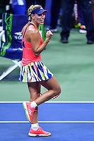 NEW YORK, USA - SEPT 09, Angelique Kerber of Germany celebrates her victory over  Caroline Wozniacki of Denmark during their Women's Singles Semifinal Match of the 2016 US Open at the USTA Billie Jean King National Tennis Center on September 8, 2016 in New York.  photo by VIEWpress