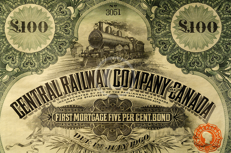 Canada, Montreal, Central Railway bond