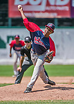 8 July 2014: Lowell Spinners pitcher Enfember Martinez on the mound against the Vermont Lake Monsters at Centennial Field in Burlington, Vermont. The Lake Monsters rallied in the 9th inning to defeat the Spinners 5-4 in NY Penn League action. Mandatory Credit: Ed Wolfstein Photo *** RAW Image File Available ****