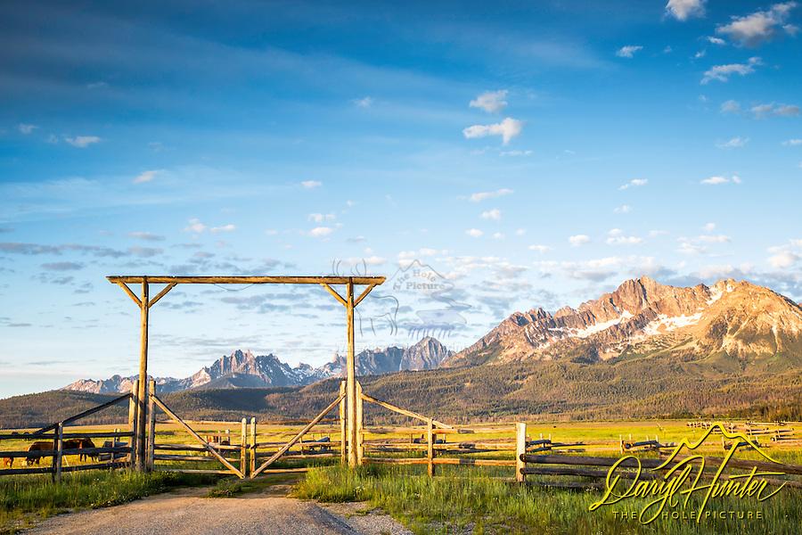 Daybreak, Ranch Gate, Sawtooth Mountains, Stanley Idaho