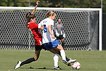 04 October 2009: Duke's Jane Alukonis (5) and Maryland's Lydia Hastings (10). The University of Maryland Terrapins defeated the Duke University Blue Devils 4-0 at Koskinen Stadium in Durham, North Carolina in an NCAA Division I Women's college soccer game.