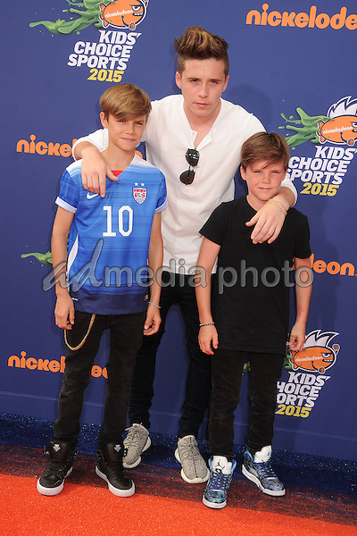 16 July 2015 - Westwood, California - Romeo Beckham, Brooklyn Beckham, Cruz Beckham. Nickelodeon Kids Choice Sports Awards 2015 held at the UCLA Pauley Pavilion. Photo Credit: Byron Purvis/AdMedia