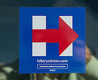 Rockville,MD November 7 2016, USA:  In the final day of the Presidential elections, Hillary Clinton stickers are seens on cars in Rockville, MD.  Patsy Lynch/MediaPunch