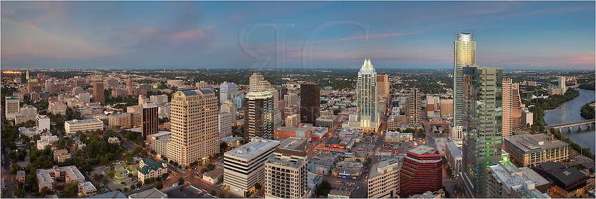 Taken from the roof of the 360 Condos in downtown Austin Texas, the Austin skyline, along with the Frost Tower and other Austin Architecture delights, create a wonderful cityscape.