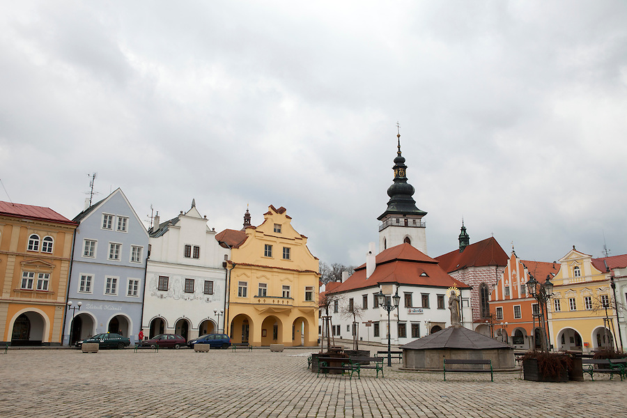 """A view of Masaryk Square in Pelhřimov, a town located approximately half-way between Prague and Brno. It is known as """"the Gateway to the Highlands"""" because of its location in the westernmost tip of the Bohemian-Moravian Highlands, Czech Republic, Europe"""