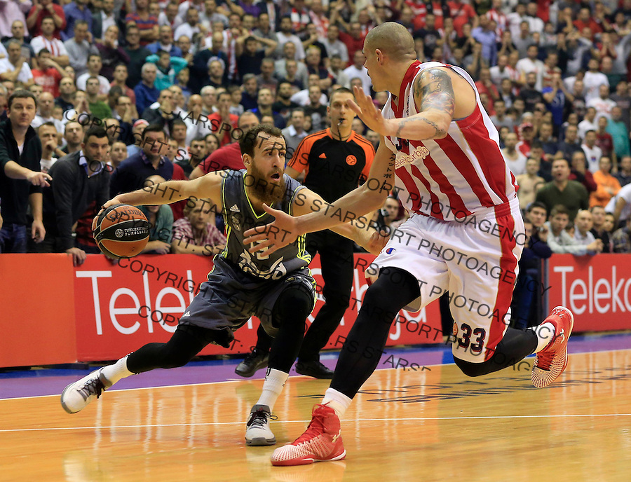 Kosarka Euroleague season 2015-2016<br /> Euroleague <br /> Crvena Zvezda v Real Madrid<br /> Sergio Rodriguez and Maik Zirbes (R)<br /> Beograd, 27.11.2015.<br /> foto: Srdjan Stevanovic/Starsportphoto &copy;