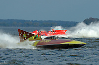 "Bill Black, U-55 ""Gale V"" (replica of the 1955 Gold Cup winner) and Jack Schafer, U-36 ""Miss U. S."" (1956 Lauterbach Hydroplane)"