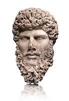 Portrait head sculpture of the Roman emperor Lucius Verus ( AD 161-169). Pentalic marble found in Athens.
