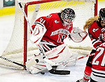 30 October 2009: Northeastern University Huskies' goalkeeper Florence Schelling, a Sophomore from Oberengstringen, Switzerland, in action against the University of Vermont Catamounts at Gutterson Fieldhouse in Burlington, Vermont. The Catamounts were shut out by the visiting Huskies 3-0. Mandatory Credit: Ed Wolfstein Photo