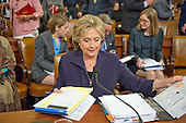 Former United States Secretary of State Hillary Rodham Clinton, a candidate for the 2016 Democratic Party nomination for President of the United States, organizes her notes during a break in her testimony before the US House Select Committee on Benghazi on Capitol Hill in Washington, DC on Thursday, October 22, 2015.<br /> Credit: Ron Sachs / CNP<br /> (RESTRICTION: NO New York or New Jersey Newspapers or newspapers within a 75 mile radius of New York City)