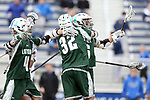 DURHAM, NC - MARCH 11: Loyola's Brian Sherlock (6) celebrates his second goal with Zack Sirico (32) and Jay Drapeau (4). The Duke University Blue Devils hosted the Loyola University Maryland Greyhounds on March 11, 2017, at Koskinen Stadium in Durham, NC in a Division I College Men's Lacrosse match. Duke won the game 15-7.