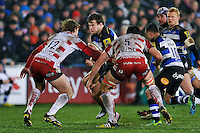 Max Clark of Bath Rugby takes on the Gloucester defence. Aviva Premiership match, between Bath Rugby and Gloucester Rugby on February 5, 2016 at the Recreation Ground in Bath, England. Photo by: Patrick Khachfe / Onside Images