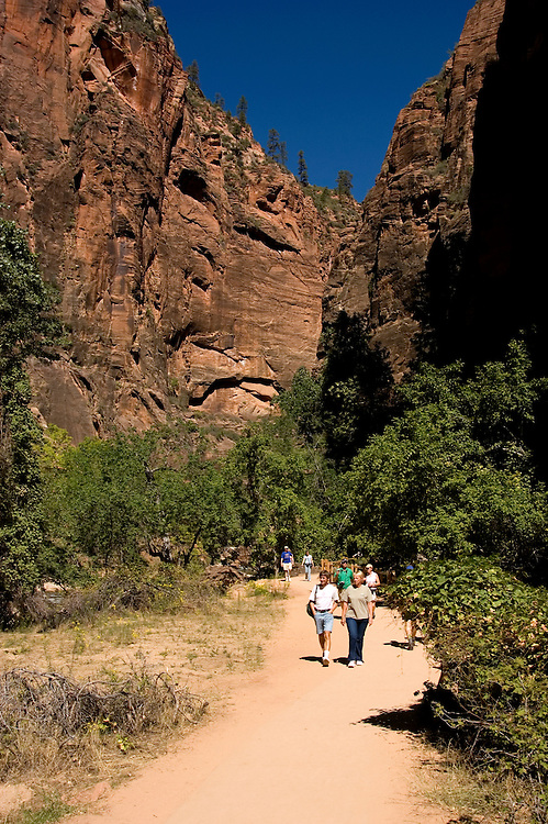 Hikers in Zion National Park, Utah, UT,  Path alongside the Virgin River near the Narrows, Southwest America, American Southwest, US, United States, Image ut383-17676, Photo copyright: Lee Foster, www.fostertravel.com, lee@fostertravel.com, 510-549-2202