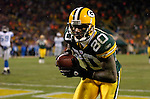 Green Bay's Donald Driver after catching a 23-yard touchdown pass from Brett Favre in the 3rd quarter. .The Green Bay Packers hosted the Detroit Lions at Lambeau Field Sunday, December 12, 2004. WSJ/Steve Apps.