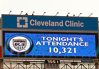 22 MAY 2010:  A sign at Cleveland Brown's Stadium display the attendance during the International Friendly soccer match between Germany WNT vs USA WNT at Cleveland Browns Stadium in Cleveland, Ohio. USA defeated Germany 4-0 on May 22, 2010.