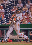 6 August 2016: San Francisco Giants shortstop Brandon Crawford singles in the top of the 9th inning against the Washington Nationals at Nationals Park in Washington, DC. The Giants defeated the Nationals 7-1 to even their series at one game apiece. Mandatory Credit: Ed Wolfstein Photo *** RAW (NEF) Image File Available ***