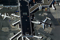aerial photograph US Airways Delta terminals LaGuardia airport, LGA, Queens, New York City