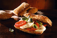 mozerella,  and  tomato chiabatta sandwich. Food photos.