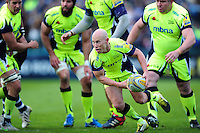 Peter Stringer of Sale Sharks looks to pass the ball. Aviva Premiership match, between Bath Rugby and Sale Sharks on April 23, 2016 at the Recreation Ground in Bath, England. Photo by: Patrick Khachfe / Onside Images